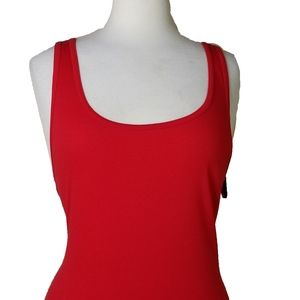 Long & Lean Ribbed Fitted Tank Top 3X Stretch Red